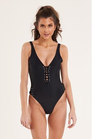 Black Lace-Up Swimsuit