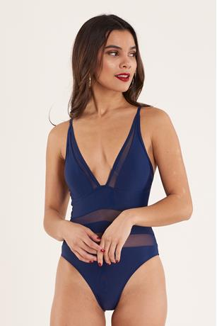 Navy Mesh Insert Swimsuit NAVY
