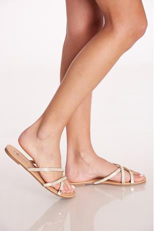 Strappy Rhinestone Sandals GOLD
