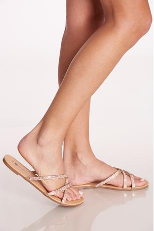 Strappy Rhinestone Sandals ROSE GOLD