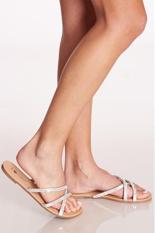 Strappy Rhinestone Sandals SILVER