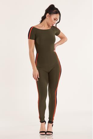 Off Shoulder Striped Jumpsuit  OLIVE