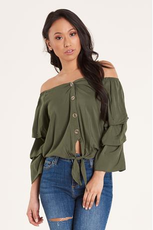 Pintuck-Sleeve Top  OLIVE