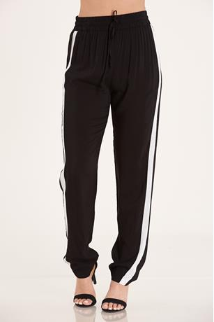 Striped Drawstring Joggers  BLACK