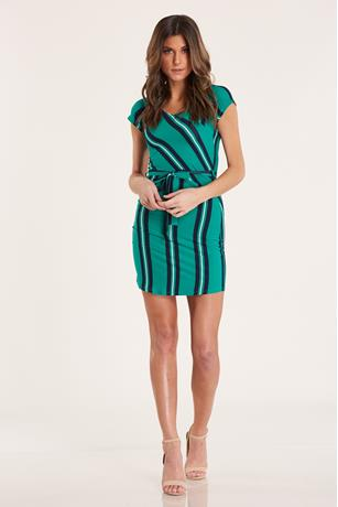 Striped Belted Dress  GREEN