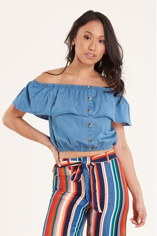 Ruffle Denim Top DARK WASH