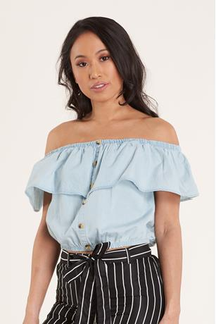 Ruffle Denim Top LIGHT WASH