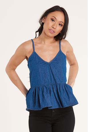 Denim Peplum Top LIGHT WASH