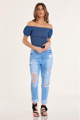 Denim Smocked Top DARK WASH