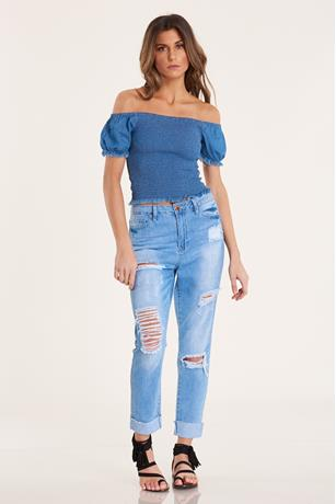 Denim Smocked Top LIGHT WASH