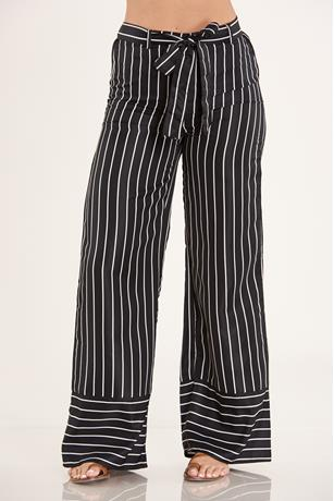 Striped Palazzo Pants BLACK