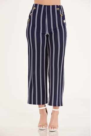 Button Front Pants  NAVY