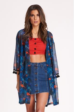Tassel Trim Kimono