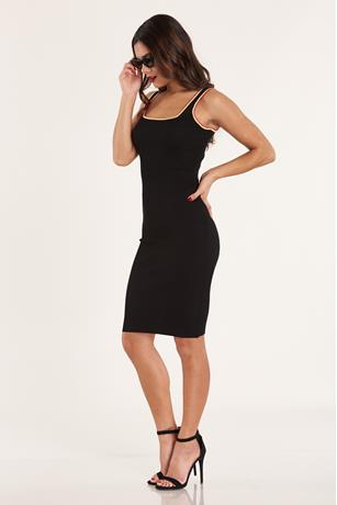 Contrast Ribbed Dress BLACK