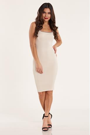 Contrast Ribbed Dress NUDE