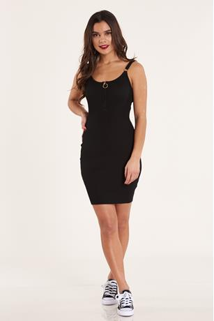 Zip- Up Ribbed Dress BLACK