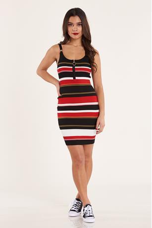 Stripe Zip-Up Dress