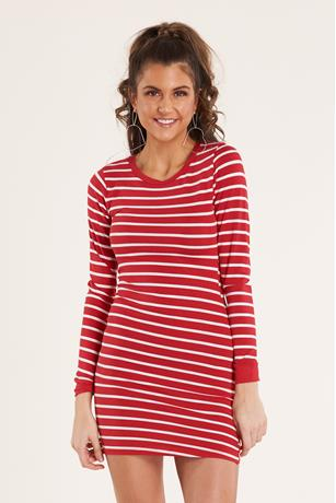 Striped Bodycon Dress RED