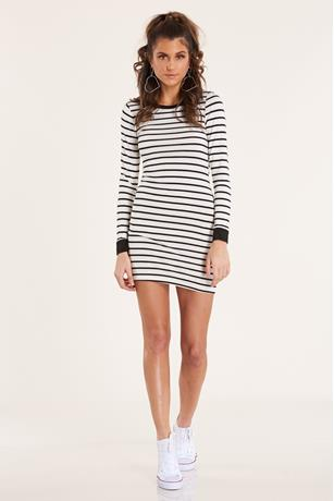 Striped Bodycon Dress WHITE
