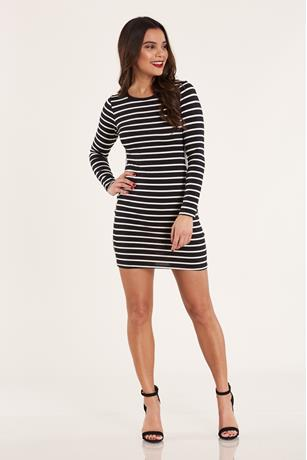 Side-Stripe Bodycon Dress BLKWHT