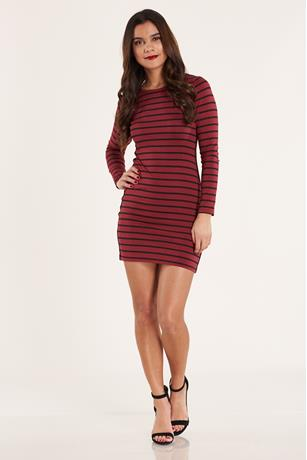 Side-Stripe Bodycon Dress BURGANDY