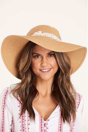 Floppy Crochet Trim Hat NATURAL