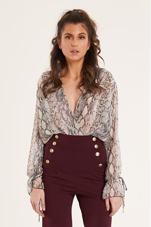 Print Surplice Bodysuit BROWN
