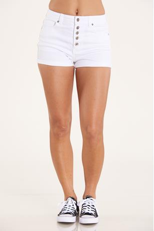 White High Waist Shorts  WHITE