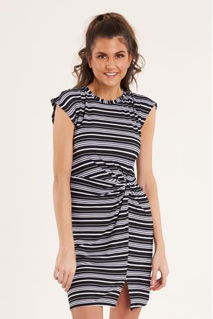 Striped Knot-Front Dress BLACK