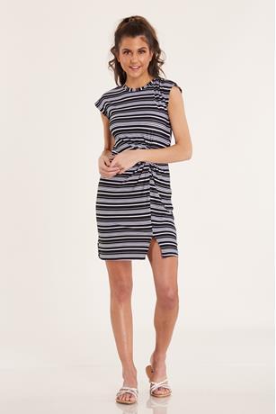 Striped Knot-Front Dress BLACK