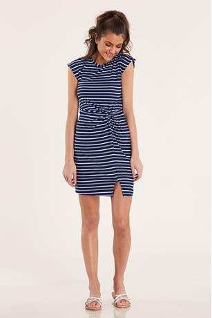 Striped Knot-Front Dress BLUE
