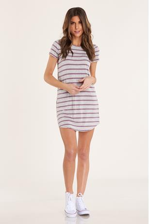Striped T-Shirt Dress CHARCOAL