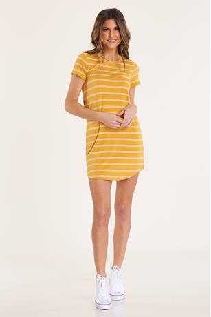 Striped T-Shirt Dress GOLD