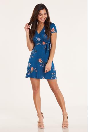 Print Wrap Dress  BLUE