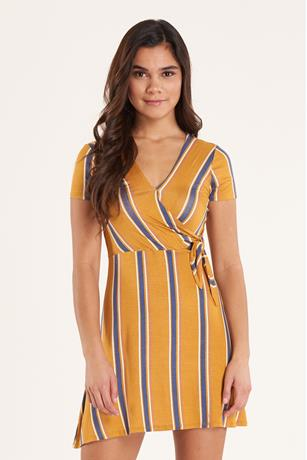 Print Wrap Dress  GOLD