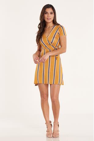 Print Wrap Dress  GOLD
