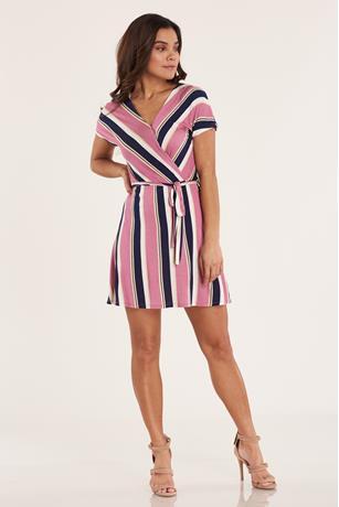 Print Wrap Dress  PINK