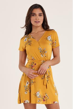 Print Wrap Dress  YELLOW