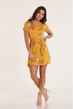 Print Wrap Dress  YELLOW