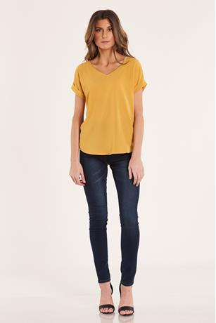 Crepe V Neck Top  GOLD