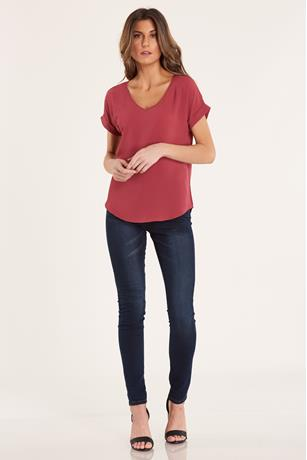 Crepe V Neck Top  RED