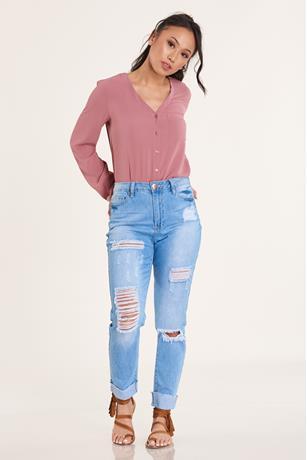 Crepe V Neck Shirt ROSE
