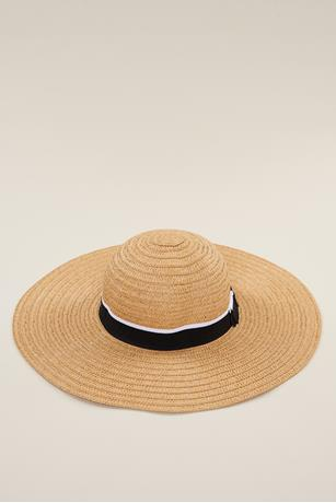 Contrast Bow Trim Floppy Hat  NATURAL
