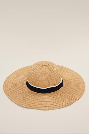 Contrast Bow Trim Floppy Hat