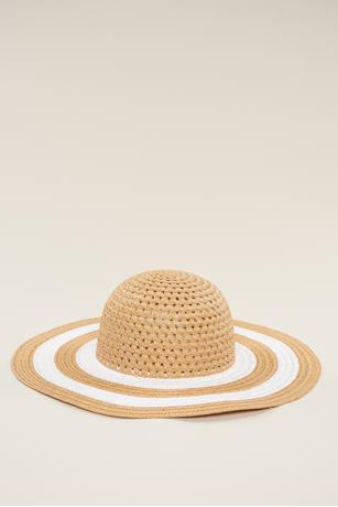 Stripe Brim Floppy Hat NATURAL