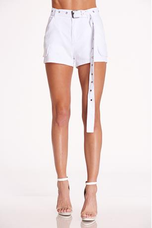 Belted High Waist Shorts WHITE