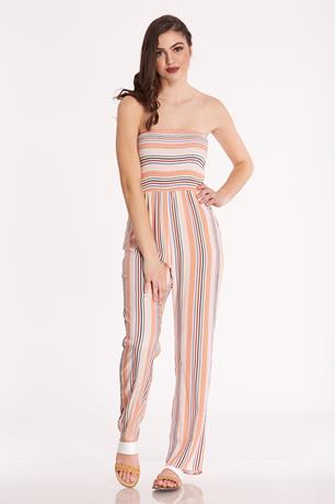 Strapless Striped Jumpsuit MULTI
