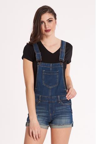 Zip-Up Denim Shortalls