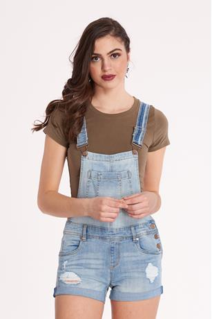 Ripped Denim Shortalls