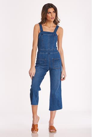 Frayed Hem Denim Overalls MEDIUM WASH